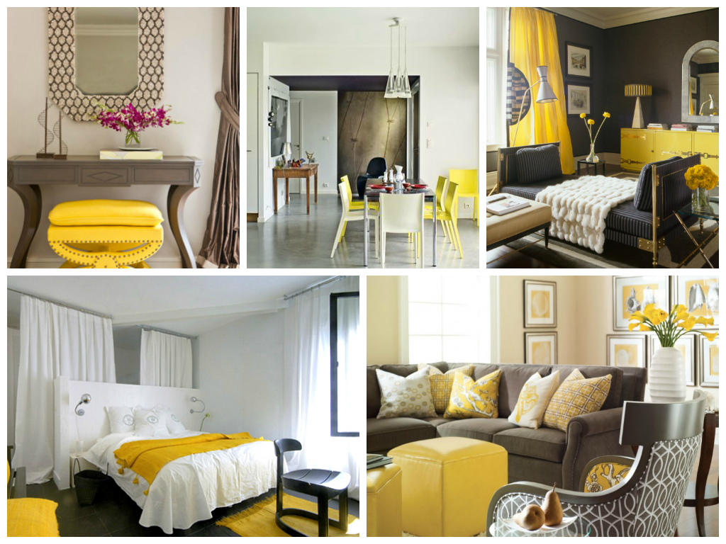 decoracion en gris y amarillo