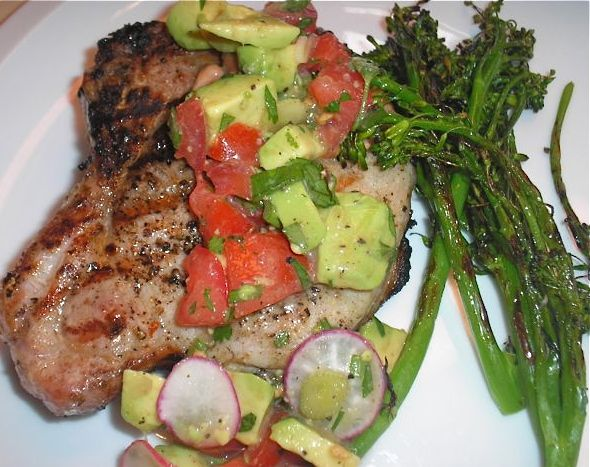 The Briny Lemon: Grilled Pork Chops and Broccolini with Tomato-Avocado ...