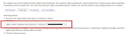 Yandex Onaylama Kodu