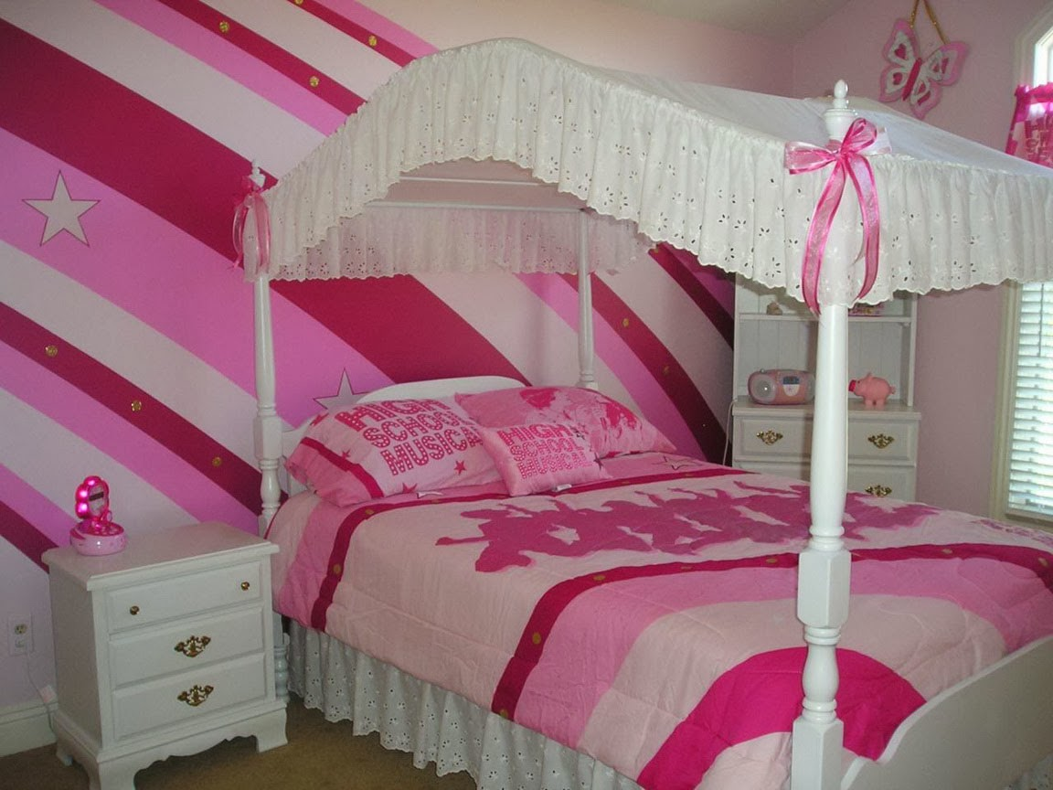 Ideas For Decorating Girls Bedroom With Stripes In The Wall