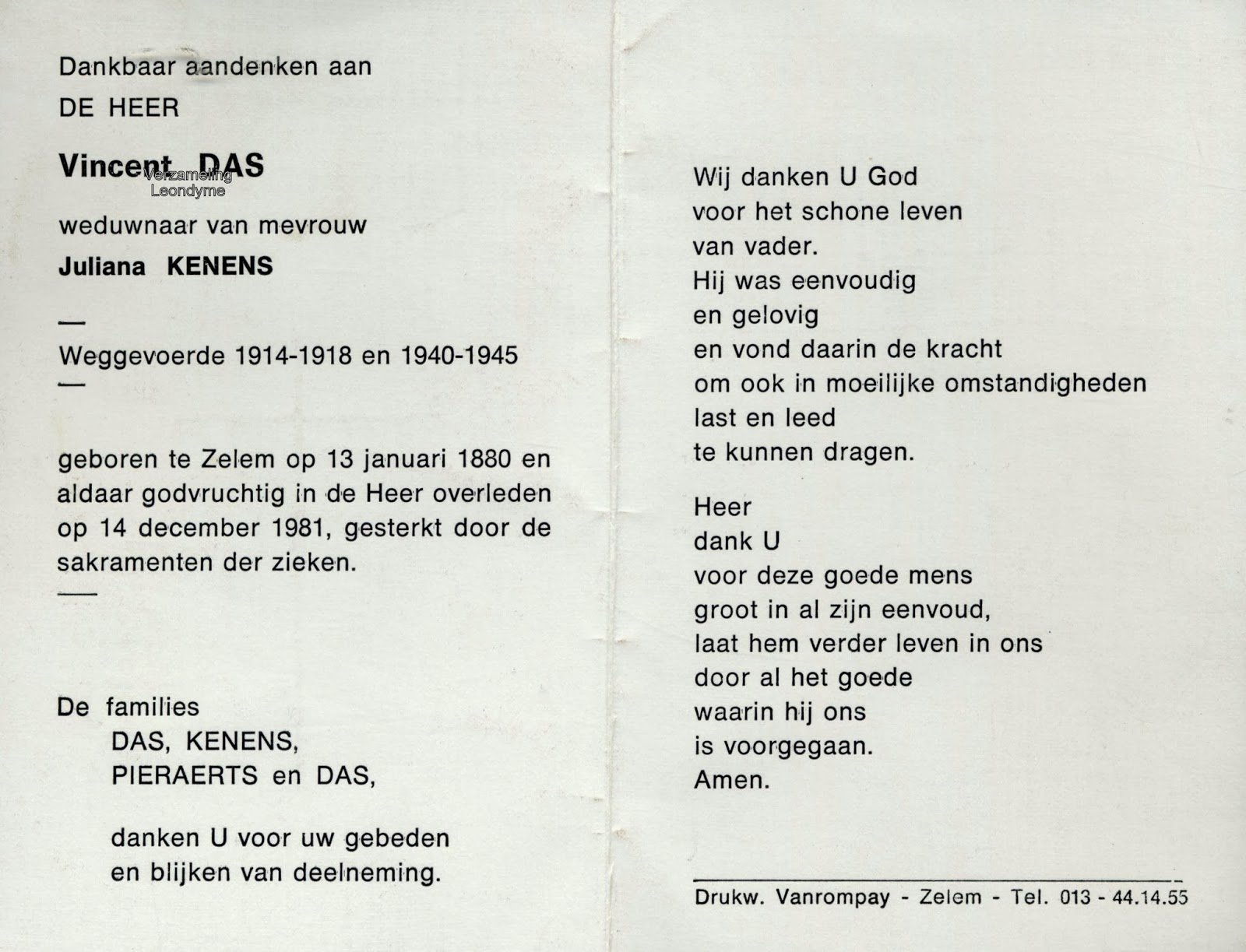 Bidprentje, weggevoerde Vincent Das 1880-1981. Verzameling Leondyme.
