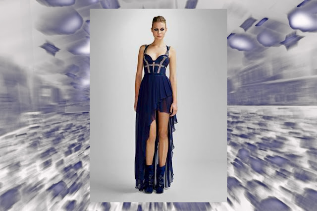 Blue party dresses for women. This design by Versace.