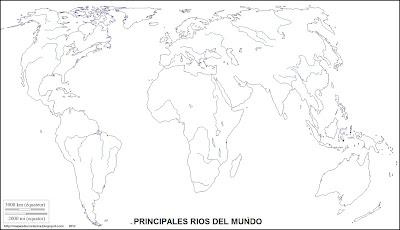 Mapa mudo, principales rios del mundo, mapamundi