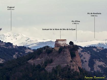 """El Santuari de la Mare de Déu de La Quar amb el Puigmal al fons. Autor: Francesc """"Caminaire"""""""