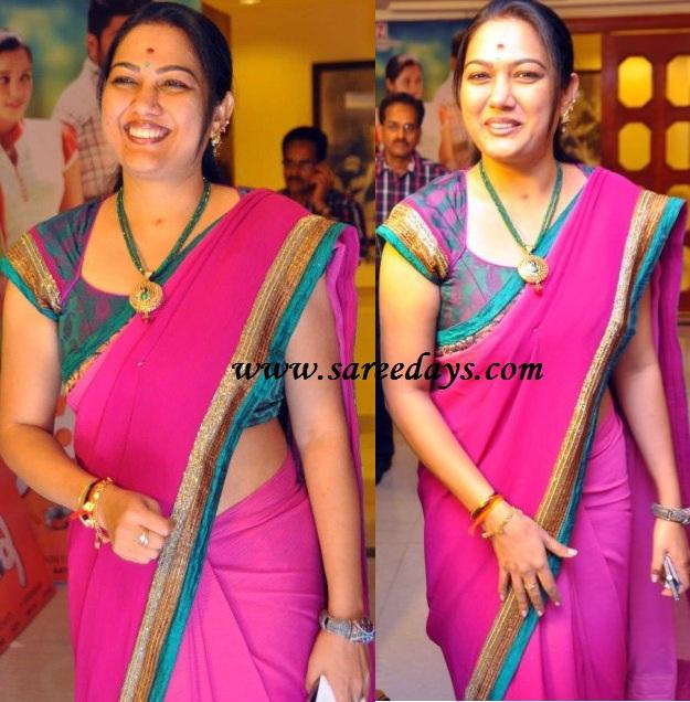 Latest saree designs telugu actress hema in pink designer georgette telugu actress hema in pink designer georgette saree altavistaventures Images