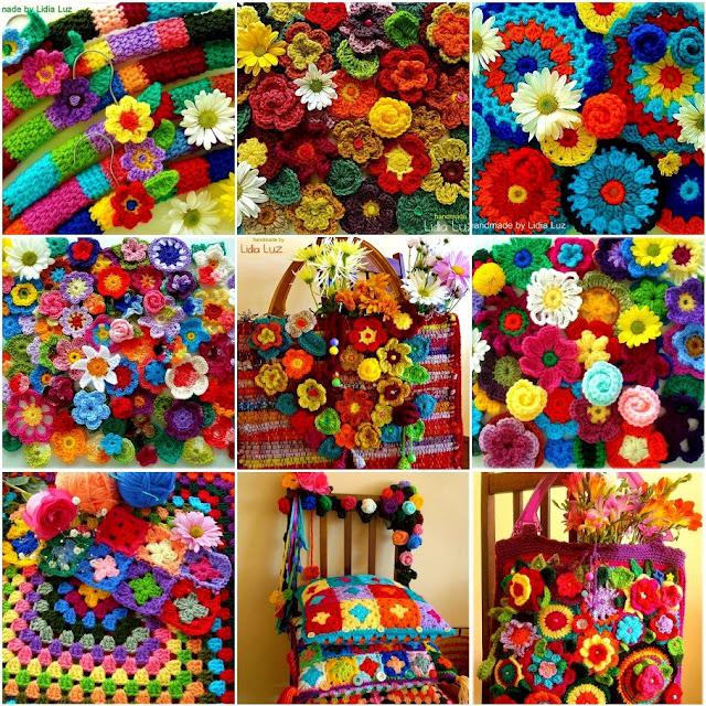 Коврик из вязанных цветов