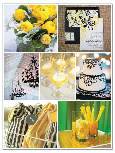 elegant bold classy yellow black wedding inspiration board