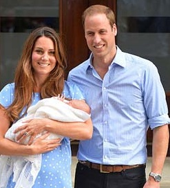 Kate with George in her arms and proud father William