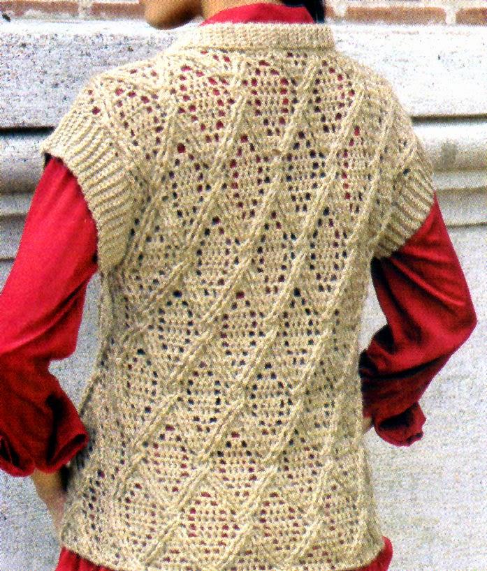 chaleco en relieve tejido en crochet (espalda)