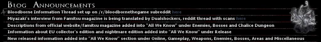 Bloodborne Blog Announcements