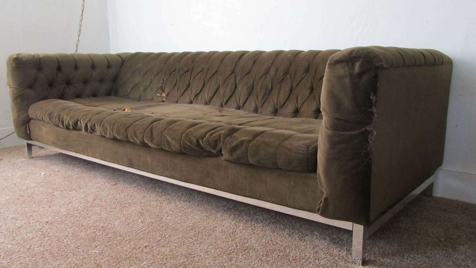 Here Is A Picture Of The Sofa Shortly After Getting It Home. It Was  Certainly Saggy Looking But Full Of Promise.