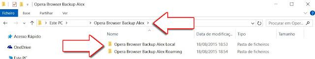 Opera Browser Cópia de Segurança [Nome de Utilizador] Local e Roaming