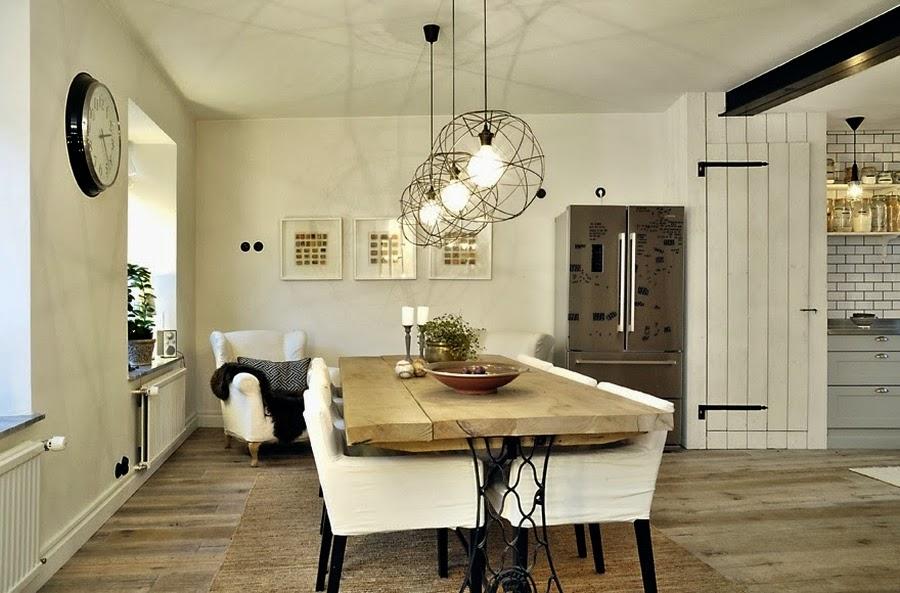 wystrój wnętrz, home decor, wnętrza, mieszkanie, dom, aranżacje, białe wnętrza, jadalnia, stół, lampa, fotel