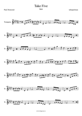 Tubepartitura Partitura de Take Five de Paul Desmond para Trompeta Música Jazz