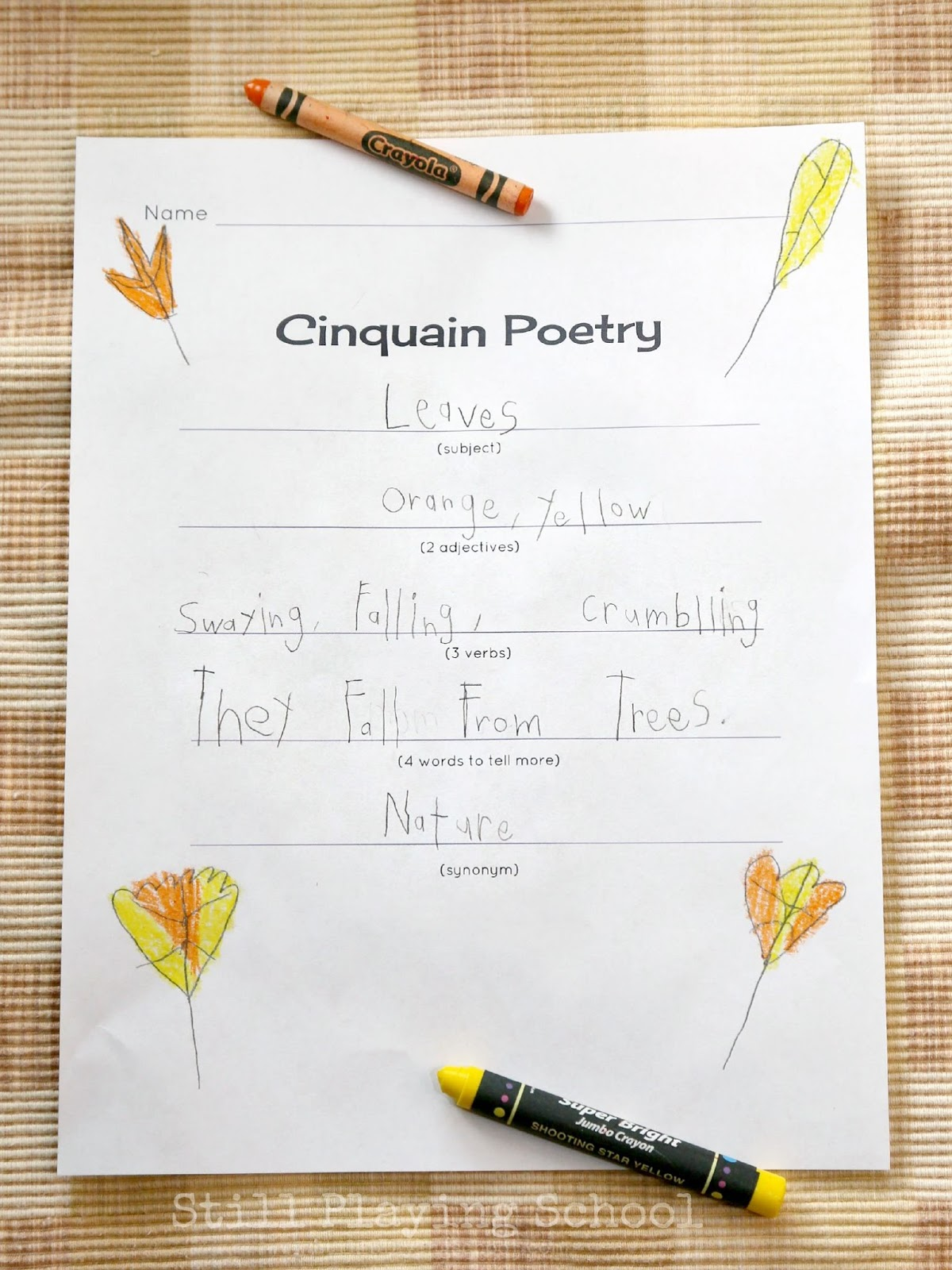 cinquain poetry for kids still playing school