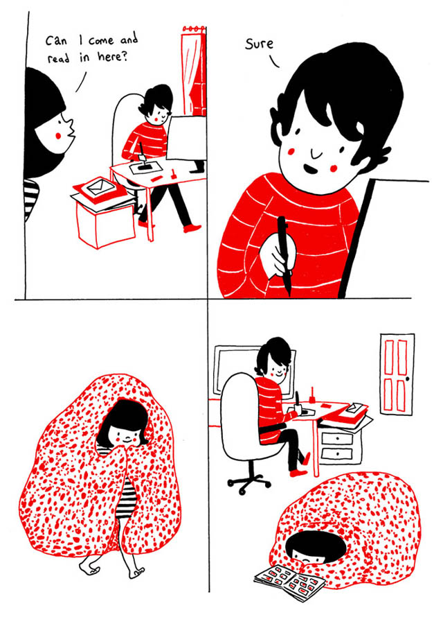 Heartwarming Illustrations Show That True Love Is In The Little Everyday Things - You can be in the same room without having to do everything together