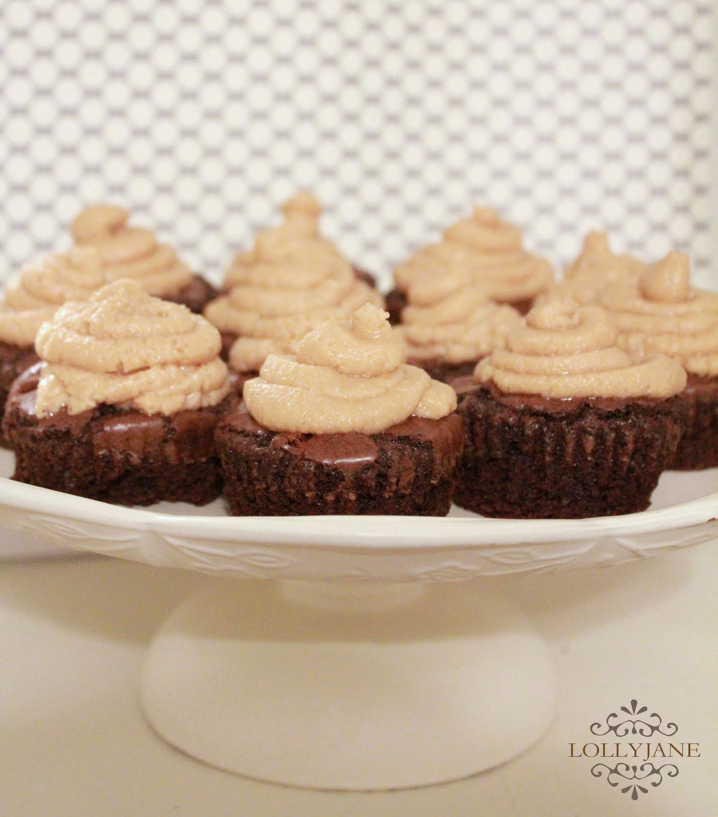 Dark chocolate brownies + peanut butter frosting