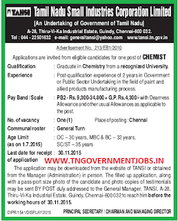 Applications are invited for Chemist Post Posts under direct recruitment process in Tamil Nadu Small Industries Corporation Ltd (TANSI)