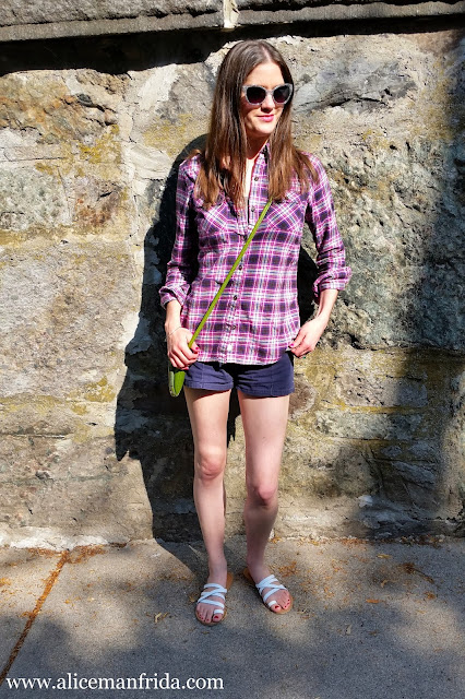 ootd, outfit of the day, summer style, plaid, pink, shorts, sandals, sunglasses, Alice Manfrida