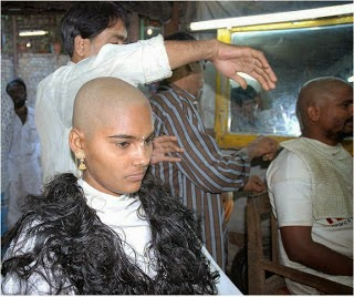 Indian  Women Headshave in Salon by Barber Ultimate Headshave