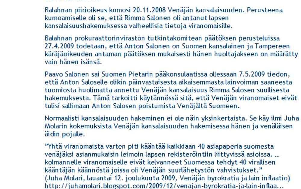 venäjän kansalaisuus suomalaisille Lappeenranta