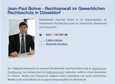 """""""Rechtsanwalt""""Jean-Paul Bohne, Berger LAW LLP Düsseldorf: Fragwürdige Leistungen im Presse- und Medienrecht"""