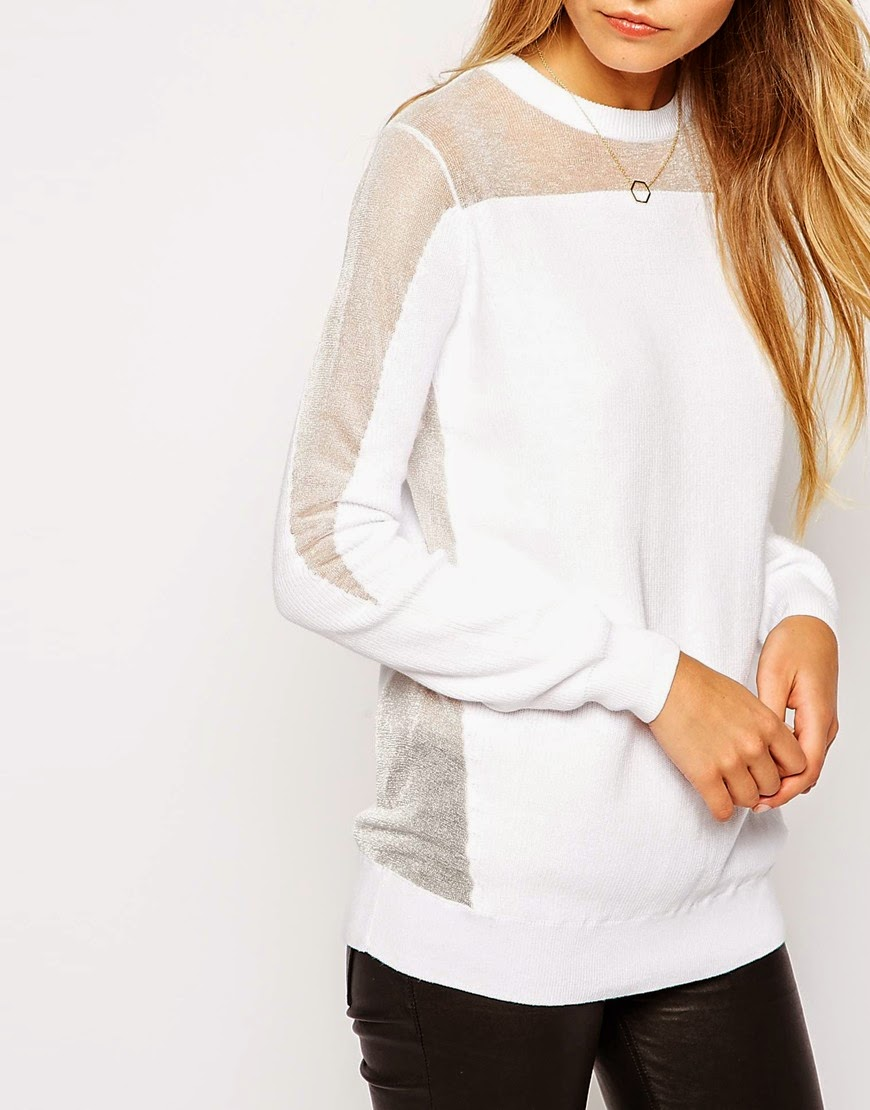white jumper with sheer panel