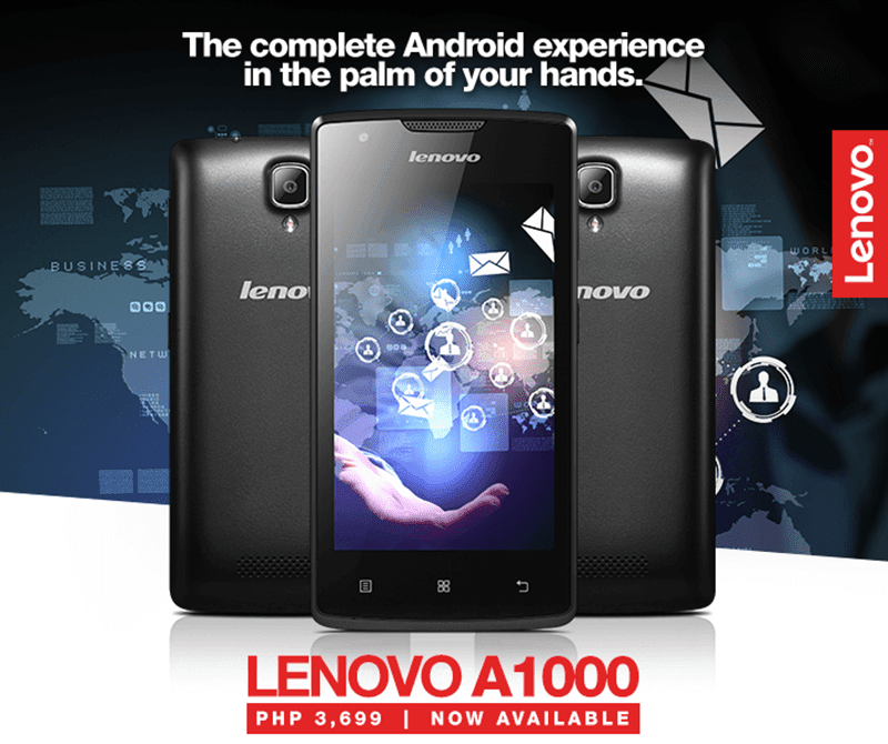 Lenovo A1000 Announced! 4 Inch Quad Core Lollipop Handset Priced At 3699 Pesos!