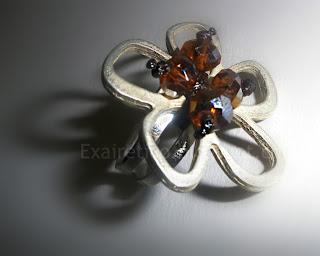 Χειροποίητο μεταλλικό δαχτυλίδι με κρυσταλλάκια