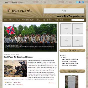 USA Civil War Blogger Template. blogger template magazine style