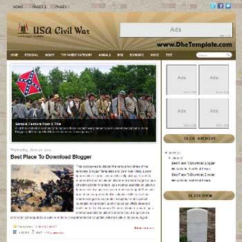 USA Civil War Blogger Template. blogger template magazine style
