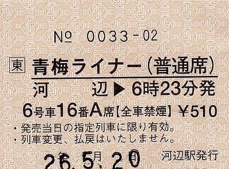青梅ライナー券(普通席) 完全常備軟券 河辺駅