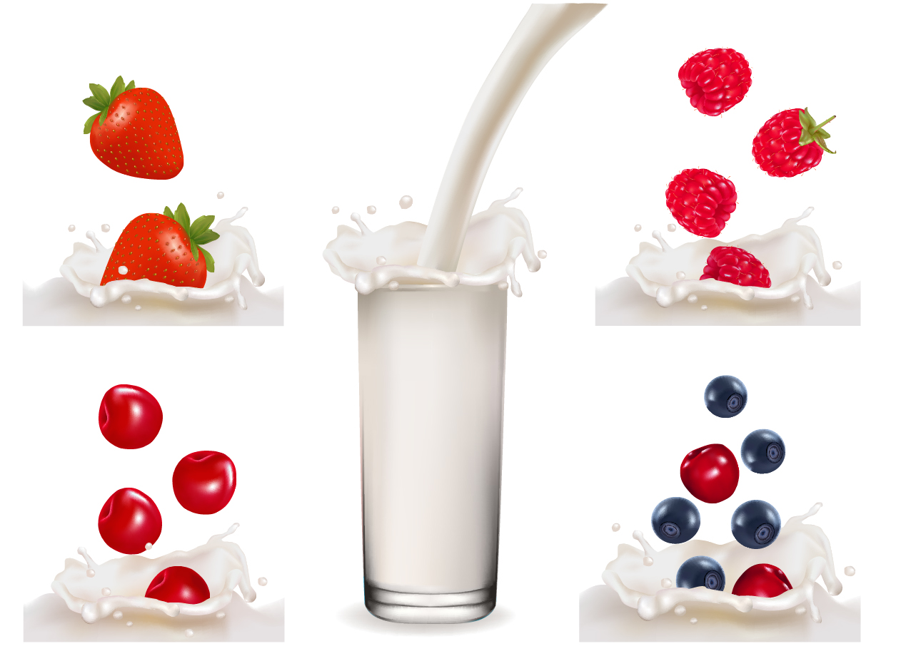 フルーツ牛乳 Fruit milk splash vector material イラスト素材