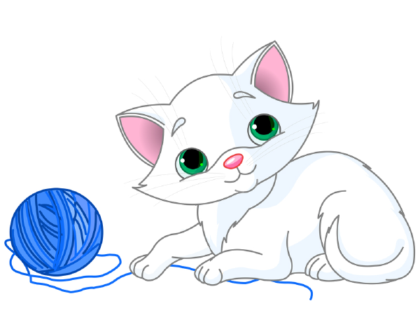 Kitten and Blue Yarn