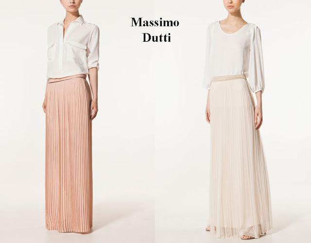 Falda larga rosa palo o falda larga con transparencias de tul de Massimo Dutti.
