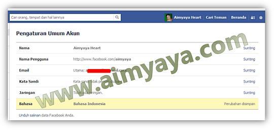 Gambar: Hasil perubahan / penyimpanan bahasa facebook yang baru