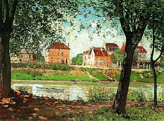 Альфред Сислей. Вид на реку у берега в Сен-Мамме. 1884.