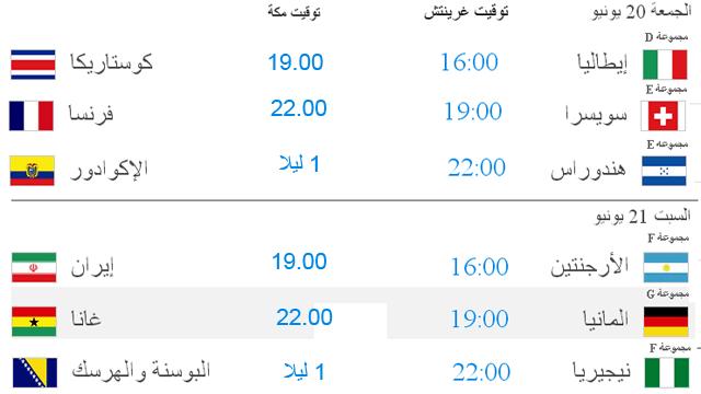 جدول كاس العالم .. مواعيد المباريات