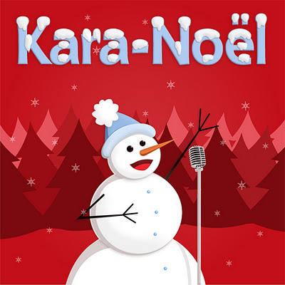Music cover with snowman on red background