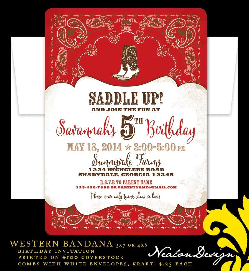 Nealon Design: BANDANA Birthday Invitation