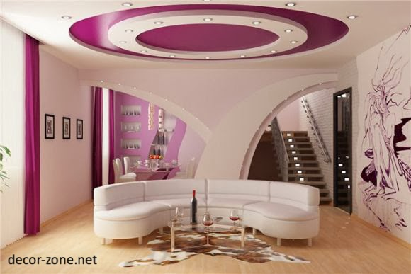 Round False Ceiling Designs For Living Room Made Of Gypsum With Multi Level  Lighting