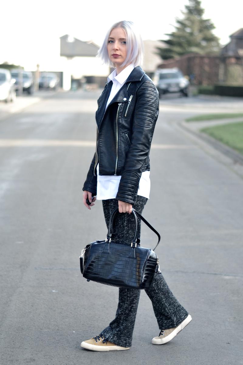 Zara leather jacket, primark white shirt, men, oversized, flared trousers, knitted, superga sneakers, camel, saint laurent inspired bag, crocodile, outfit, minimal, black white, grey hair