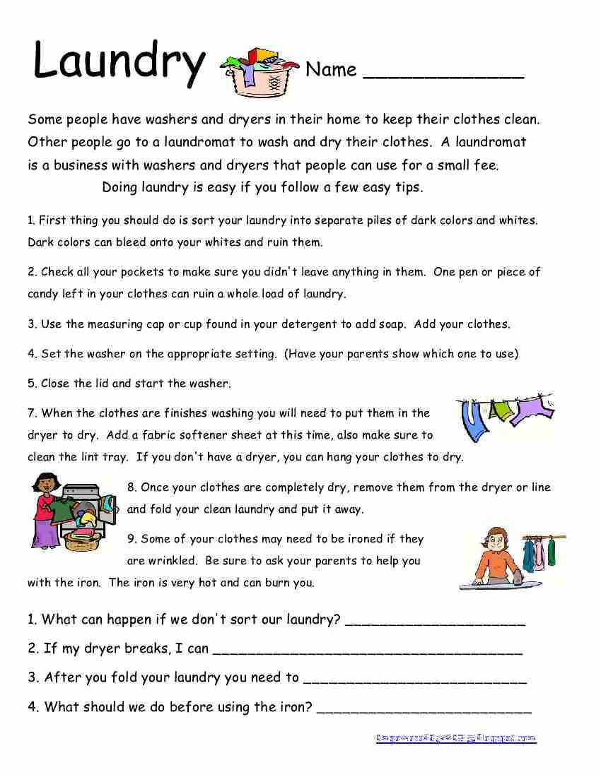 worksheet Life Skills Worksheets High School empowered by them laundry tuesday may 15 2012
