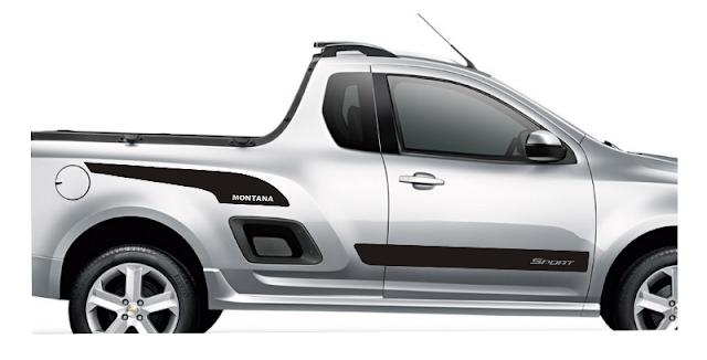 Chevrolet Montana faixa lateral adesiva