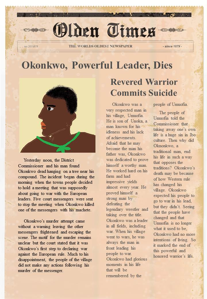 things fall apart okonkwo s obituary Need help on characters in chinua achebe's things fall apart things fall apart characters from litcharts ekwefi is okonkwo's second wife and the mother of.