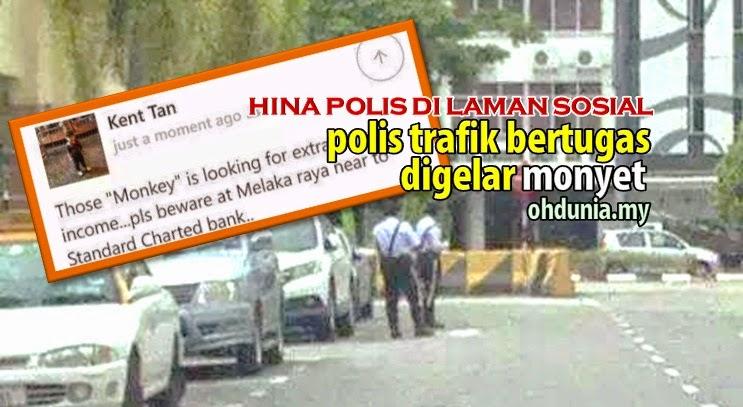 Pengguna Facebook Gelarkan 'Monyet' Kepada 2 Polis Trafik Bertugas