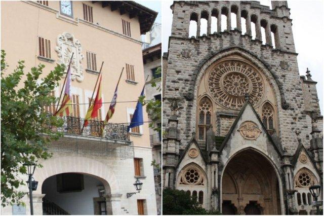 Ayuntamiento y Parroquia de San Bartolome en Soller en Mallorca