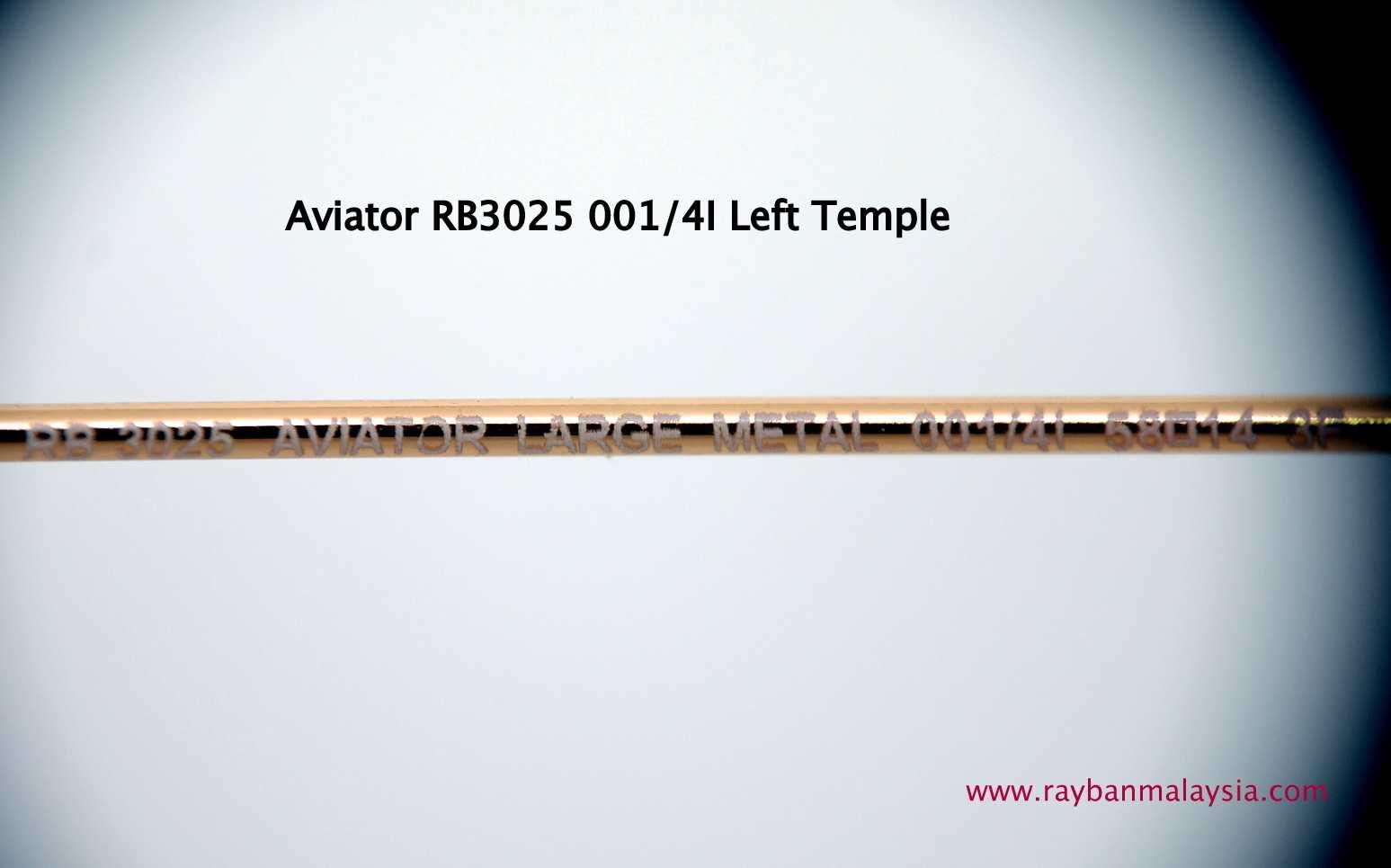 fake ray ban aviator sunglasses  genuine rayban aviator 001/4i left temple