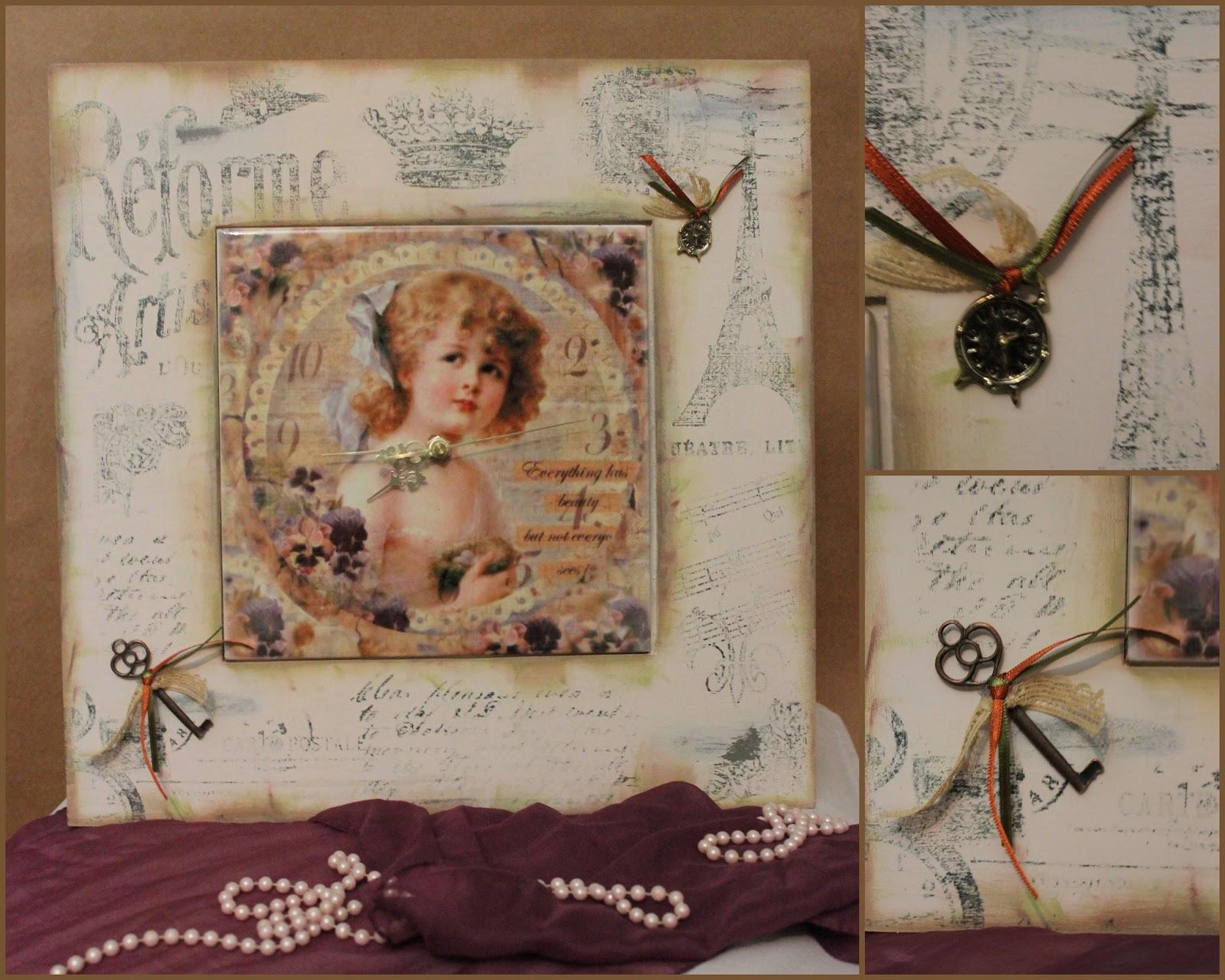 Rom ntica reloj vintage de 20x20 sublimado sobre azulejos - Relojes grandes de pared vintage ...