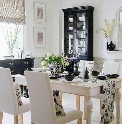 Black White Dining Room: Falls Design: Cream + White + Black + Natural Wood = Stunning